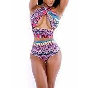 swimwear,swimwear printed,tribal pattern,sexy,sexy bikini,strappy bikini,high waisted bikini,halter neck,halter bikini