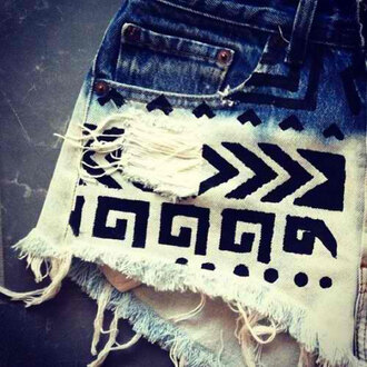 shorts ombre tribal pattern tribbal print print aztec not really but rip blue white aztec short bleached cut offs
