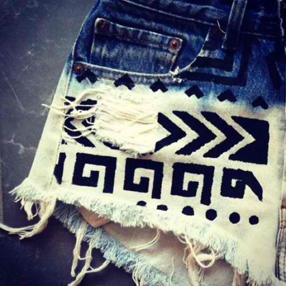 shorts aztec short aztec blue ombre tribal tribbal print print not really but rip white bleached, cut offs, ombré, tribal
