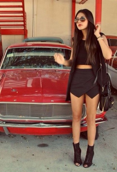 red cars black shorts swag bag sunglasses skirt shorts sexy crop tops culotte shorts jacket shoes tank top