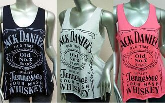 top tank top white black pink white and black tshirt black and white pink and white jack daniel's