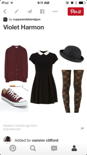 dress grunge collar dark hair accessory cardigan shorts shoes hat tights