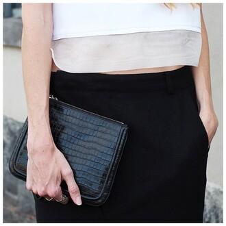 bag black clutch croc pattern shiny