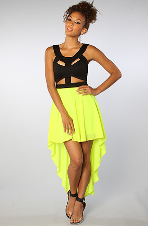 Reverse The Cut Out Dress in Neon Yellow -  Karmaloop.com