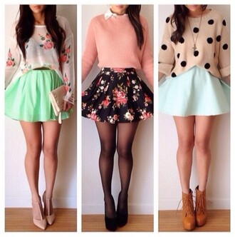 skirt floral green blue spots heels stockings tights shoes blouse cute