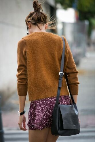 shorts loose boho bohemian fall colors fall outfits sweater rust knitted sweater pullover fuzzy sweater