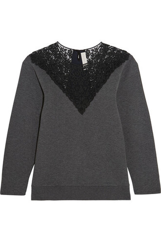 sweatshirt dark lace cotton sweater