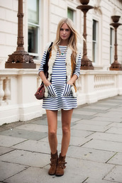 stripes,blue and white striped,long sleeve dress,high neck,brown boots,vest,buckles,studs,dress,shoes