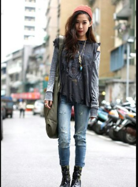 sweater grunge style top grey jeans