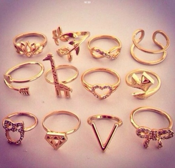 jewels diamond ring golden weheartit cute giraffe heart arrow girly rings gold rings beautiful ring