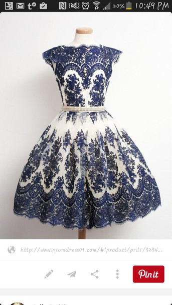 dress blue dress lace dress vintage dress vintage white cute blue and white poofy dress short sleeve blue flower cosplay dress