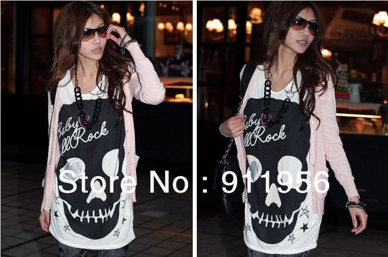 Free shipping 2013 Fashion trendy Loose women clothes Tops Tees T shirt Skeleton Long version T shirt 224-in T-Shirts from Apparel & Accessories on Aliexpress.com