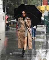 coat,checkered,trench coat,mini skirt,black boots,round sunglasses,umbrella