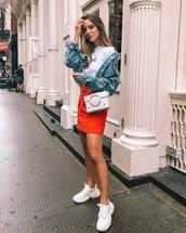 skirt,sneakers,mini skirt,denim skirt,denim jacket,white t-shirt,mini dress