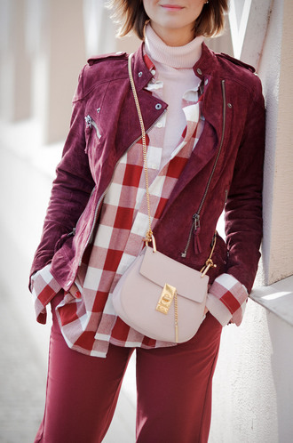 jacket tartan plaid tumblr red jacket shirt gingham top pink top turtleneck pants red pants bag pink bag chain bag crossbody bag monochrome outfit