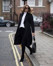 coat,tumblr,black coat,long coat,jeans,black jeans,boots,black boots,high heels boots,over the knee boots,bag,black bag,sweater,white sweater,sunglasses,black sunglasses,winter outfits,work outfits,classy,chic,pointed toe boots,cold weather outfit,winter work outfit