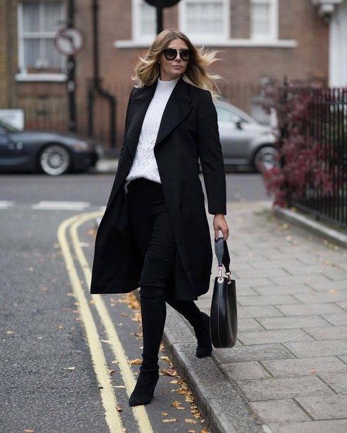 Outfit with black coat