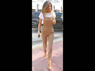 jumpsuit clothes kylie jenner kylie kardashians fashion hipster crop tops white shirt nude romper