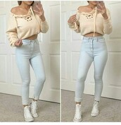 sweater,top,summer top,cute top,crop tops,sweater weather,winter sweater,cropped sweater,fall sweater,off the shoulder sweater,off the shoulder,outfit,outfit idea,fall outfits,summer outfits,winter outfits,cute outfits,spring outfits,date outfit,party outfits,clothes,fashion,stylish,style,trendy,streetwear,casual,pants,skinny pants,high waisted pants,jeans,skinny jeans,high waisted jeans,blue jeans,light blue jeans,shoes,party shoes,cute shoes,summer pants,summer shoes,cute sweaters,sneakers,white sneakers,high top sneakers