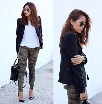 pants army green jacket army green white shirt jacket black jacket sunglasses bag pointed toe pumps camouflage army pants aviator sunglasses