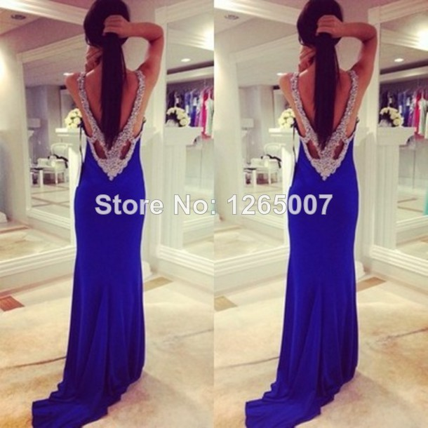 Aliexpress.com : Buy Open Back Silvery Sequins Beaded Blue Low Back Maxi Dress Fashion Gowns Blue Special Occasion Long Dress from Reliable dresses ebay suppliers on SFBridal