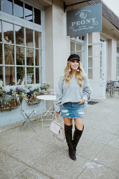 januaryhart blogger sweater skirt shoes jewels grey sweater denim skirt boots over the knee boots