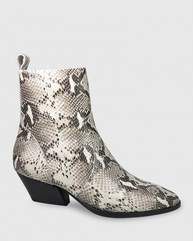 Kansas Snake Print Leather Western Style Ankle Boot