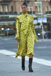 dress,midi dress,fall dress,spring dress,rihanna,boots,ruffle,floral dress,yellow dress,mustard dress