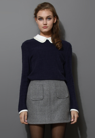 shirt pearly peter pan collar top naavy blue