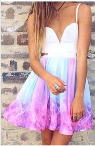 dress galaxy dress colourful print pink blue white open back side slits dress skater dress