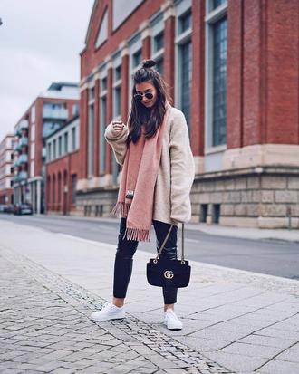 scarf tumblr pink scarf coat fuzzy coat pants black pants leather pants black leather pants sneakers white sneakers low top sneakers bag black bag sunglasses