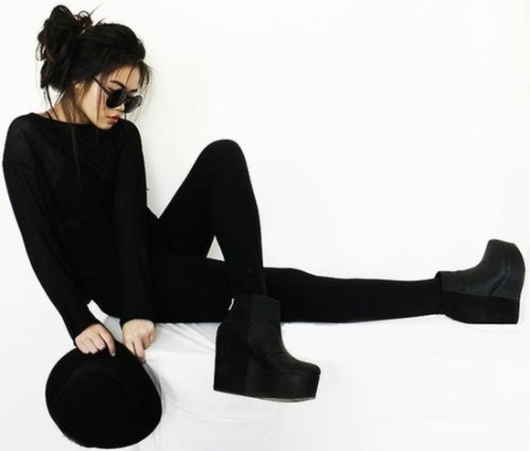 shoes platform shoes black high heels ankle boots high wedge boots