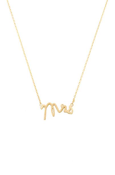 Wanderlust + Co Mrs Necklace in gold / metallic