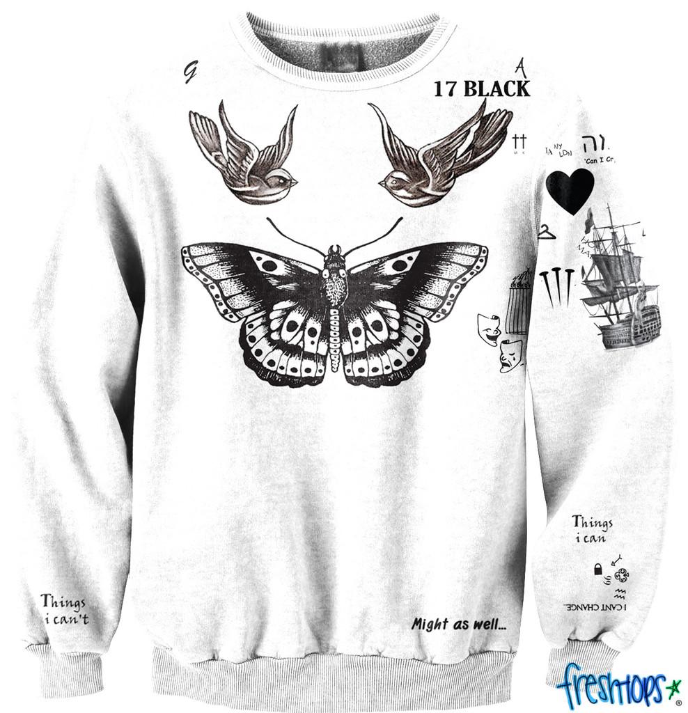 All Of Harry Styles Tattoos Tumblr Styles Tattoo Crewneck