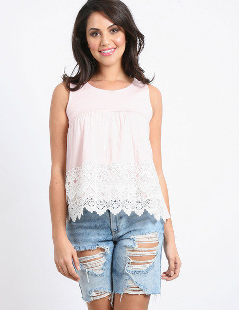 Blue Vanilla KELSEY - Lace Detail Button Top Pink