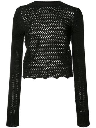 top crochet top long women cotton black crochet