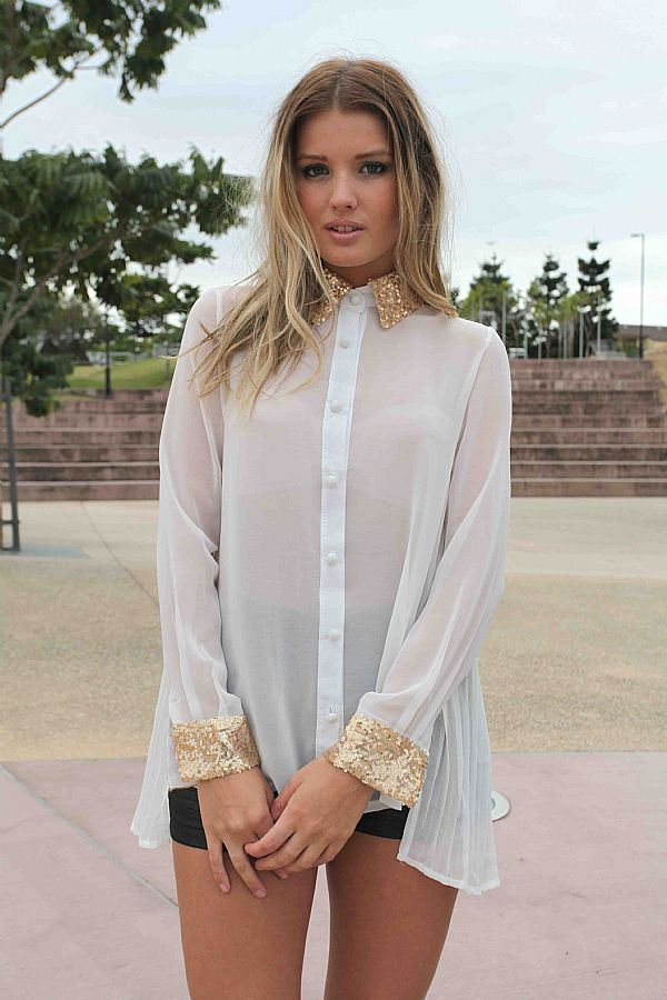 White Three Quarter Long Sleeve Top Sheer Button Up Blouse With