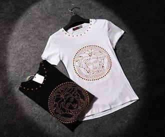 t-shirt gold white t-shirt black t-shirt gold sequins versace versace style top shirt brand