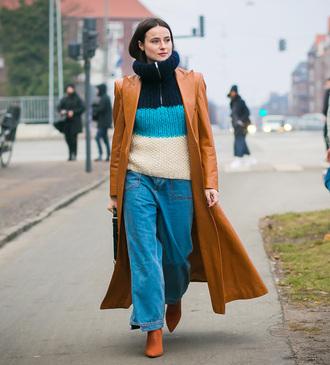 coat tumblr camel camel coat camel long coat long coat pants denim jeans blue jeans sweater stripes knit knitwear knitted sweater streetstyle