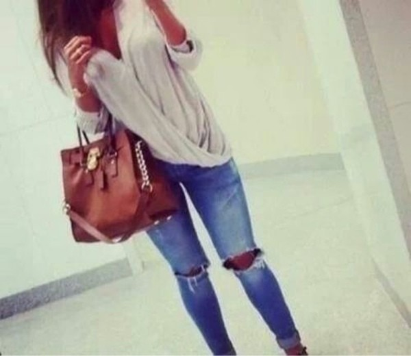 shirt classy ripped jeans jeans bag