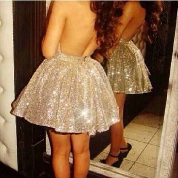 dress sparkle beautiful cocktail dress skater dress gold sparkly dress