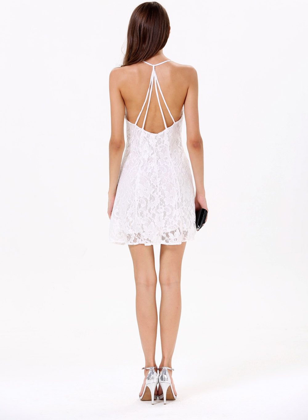 White Criss Cross Embroidered Double Layers Dress - Sheinside.com