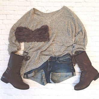 shoes brown boots lace up boots mid calf boots boots sweater loose sweater beige sweater beige sweater knit knitted sweater
