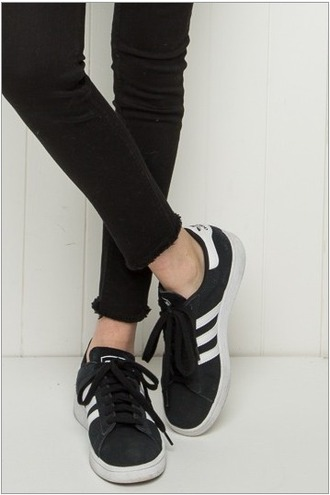 shoes adidas adidas originals suede black tumblr instagram artsy brandy california summer back to school brandy melville black and white adidas 3 stripes low top sneakers