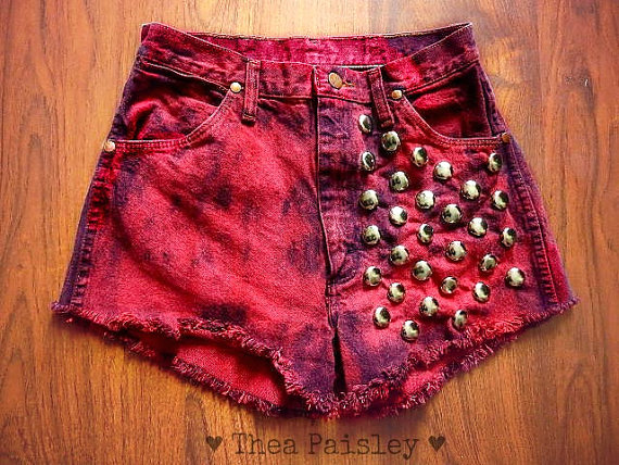 Vintage Wrangler red acid Denim Dip Dye Shorts/ by theapaisley