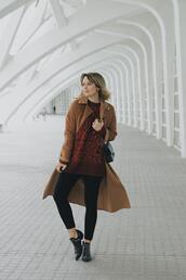 macarenagea,blogger,coat,sweater,jeans,shoes,bag,camel coat,fall outfits,booties