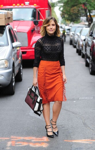 skirt top lace top pumps sophia bush