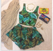 shorts,tropical,black,green,island,blue,summer,forever 21,High waisted shorts,shirt