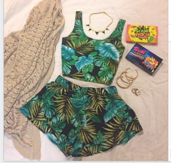 shorts shirt high waisted short summer tropical black green island blue tropical print forever 21