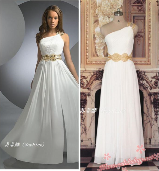 Cheap prom dress: celebrity white one shoulder evening gown $139.99 each at celebsbuy.net